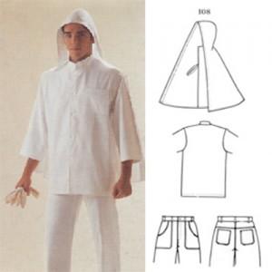 Toca de brim pesado ou leve, camisa em tecido Panamá, calça de brim pesado ou leve, com 4 bolsos e elástico atrás com passante.