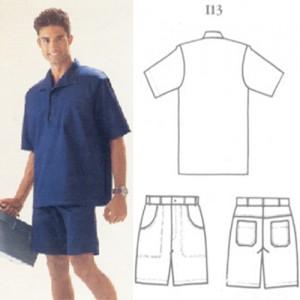Camisa com gola italiana de brim leve com bolso bordado, bermuda de brim pesado ou leve, com 4 bolsos e elástico atrás com passante.