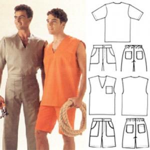 """Camisa de brim leve fechada e gola """"V"""", calça de brim pesado ou leve, com 4 bolsos e elástico atrás com passante, colete fechado com gola """"V"""", com bolso, bermuda de brim pesado ou leve, com 4 bolsos e elástico atrás com passante."""