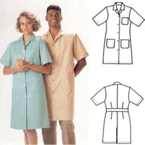 Jalecão de médico de brim leve ou gabardine com 3 bolsos, bordado.