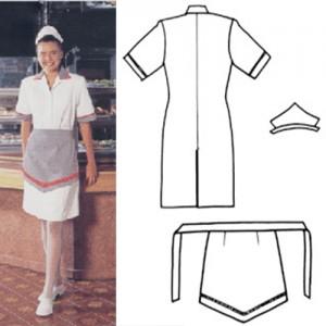Toca de brim pesado, vestido de copa de brim leve aberto na frente com botão, meio avental de frente de brim pesado.